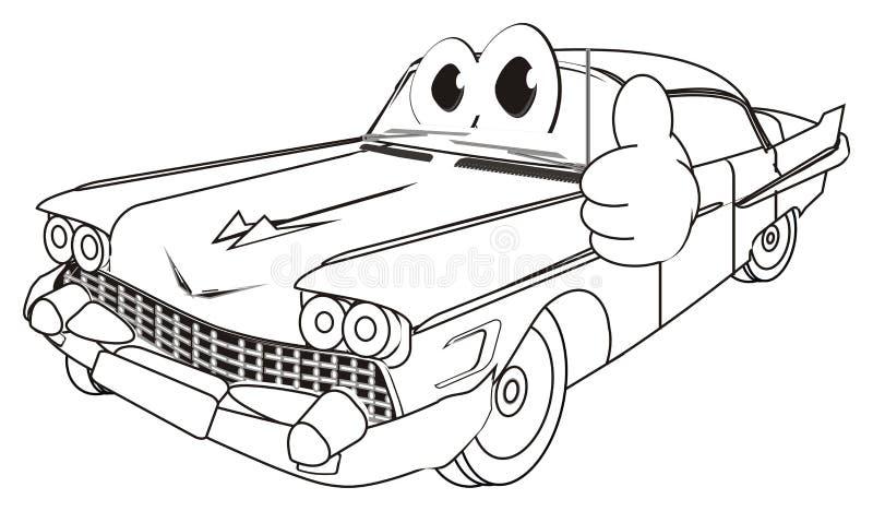 Coche viejo feliz que colorea con gesto ilustración del vector
