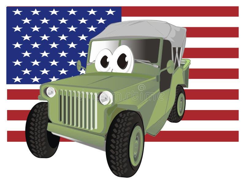 Coche y bandera divertidos del ejército ilustración del vector