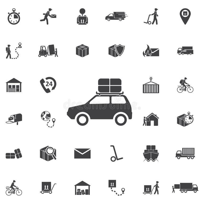 coche y caja en el top, icono del vector ilustración del vector