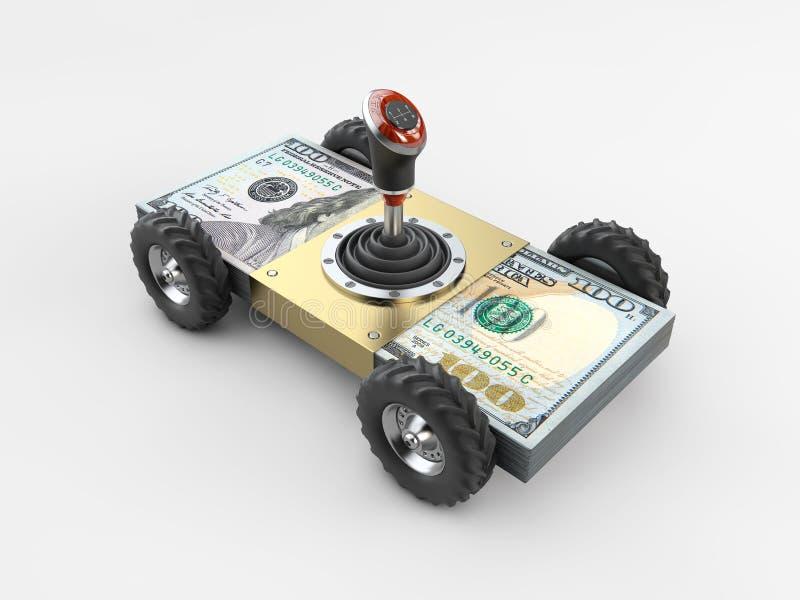 Coche y cambio de marchas del dinero en la pila de dinero aislada en el ejemplo gris del fondo 3d ilustración del vector
