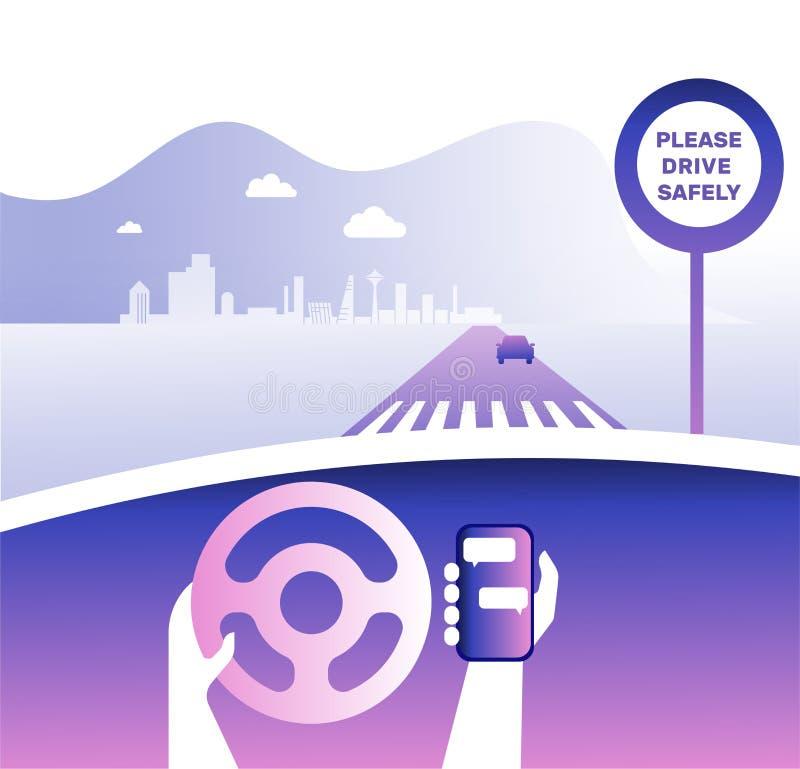 Coche y conductor del tablero de instrumentos Manos que conducen un coche en la carretera con el teléfono Conduzca la cartelera c libre illustration