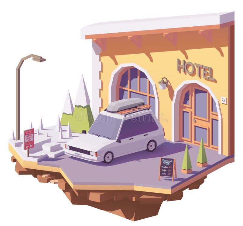 Coche y hotel polivinílicos bajos del vector stock de ilustración