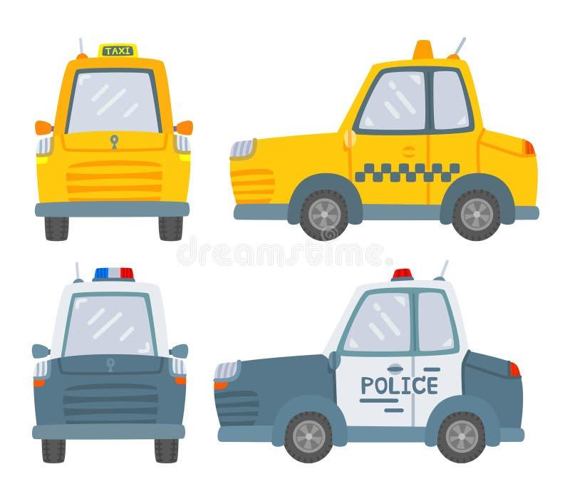 Coche y coche policía del taxi aislados en el fondo blanco, el frente y la vista lateral ilustración del vector