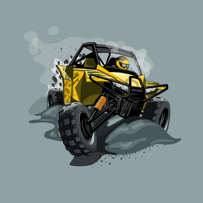 Cochecillo campo a través de ATV, paseos a través del fango Color amarillo stock de ilustración