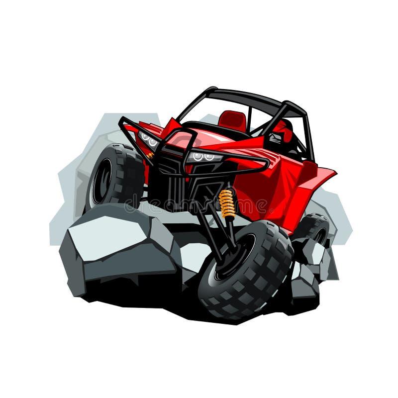 Cochecillo campo a través de ATV, paseos en las montañas en las rocas stock de ilustración