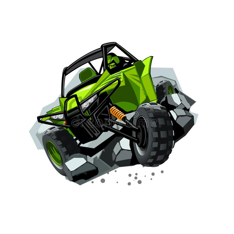 Cochecillo campo a través de ATV, paseos a través de piedras de los obstáculos Color verde ilustración del vector