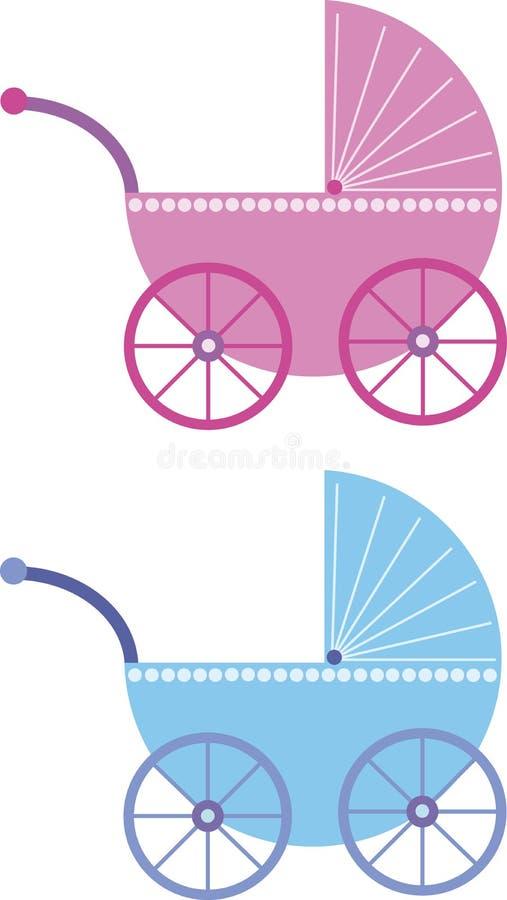 Cochecillo de bebé rosado y azul stock de ilustración