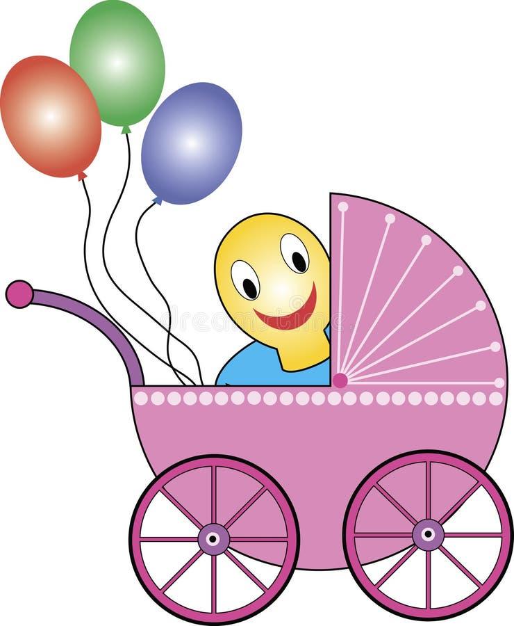 Cochecillo de bebé, soother, globos libre illustration