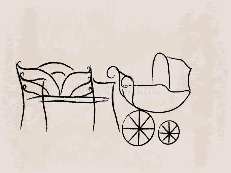Cochecillo del banco y de bebé stock de ilustración