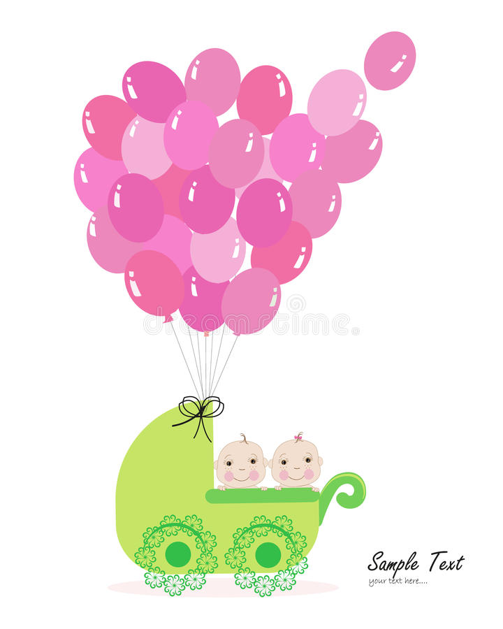 Cochecito de bebé gemelo con vector del globo libre illustration