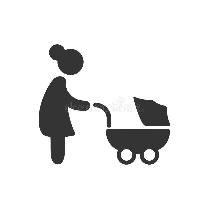 Cochecito, icono del carro de bebé ilustración del vector