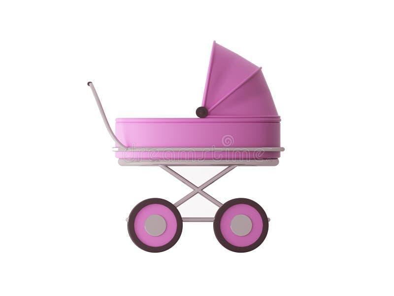 Cochecito rosado ilustración del vector