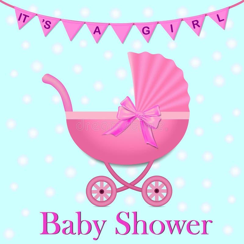 Cochecito rosado con un arco para el bebé Invitación de la fiesta de bienvenida al bebé con las banderas y el cochecito Carro de  libre illustration
