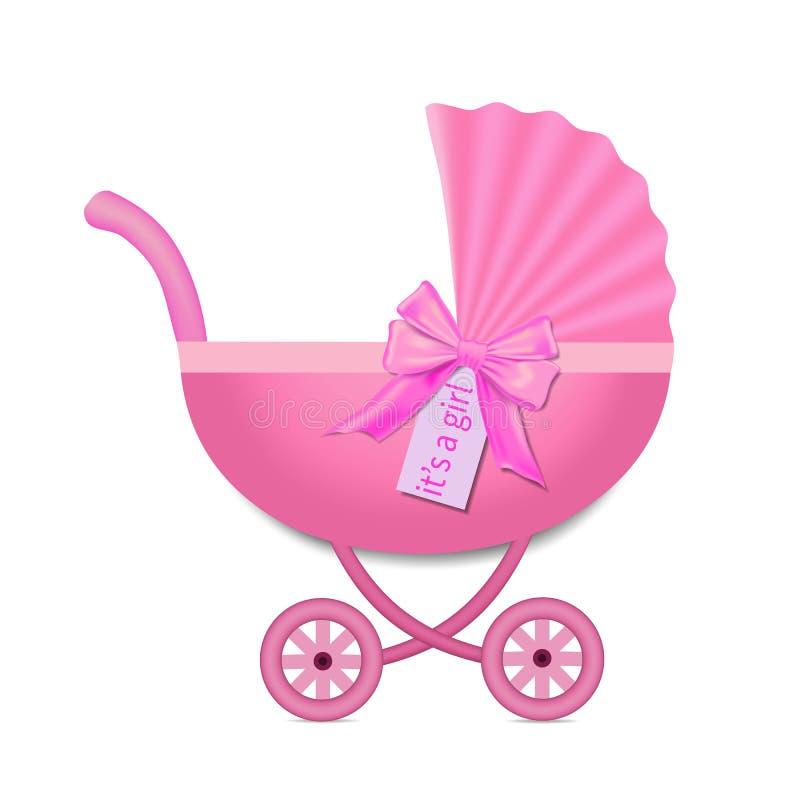 Cochecito rosado con un arco para el bebé Invitaci?n de la fiesta de bienvenida al beb? Carro de bebé en estilo realista en fondo ilustración del vector