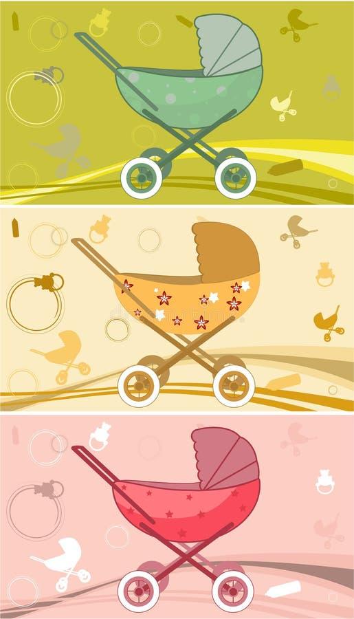 cochecitos de niño para el bebé stock de ilustración