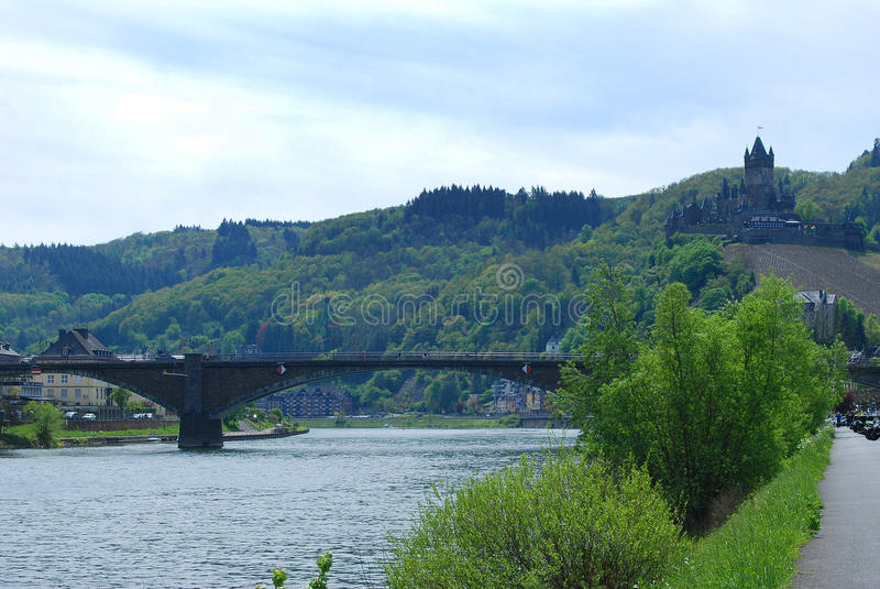 Cochem castle and river Mosel in Germany. Cochem castle bridge and river Mosel Germany royalty free stock photography