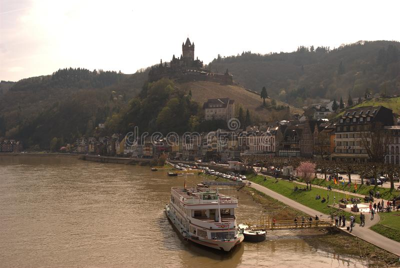 Cochem castle, town and river Mosel in Germany. Cochem castle and town on river Mosel Germany stock photos