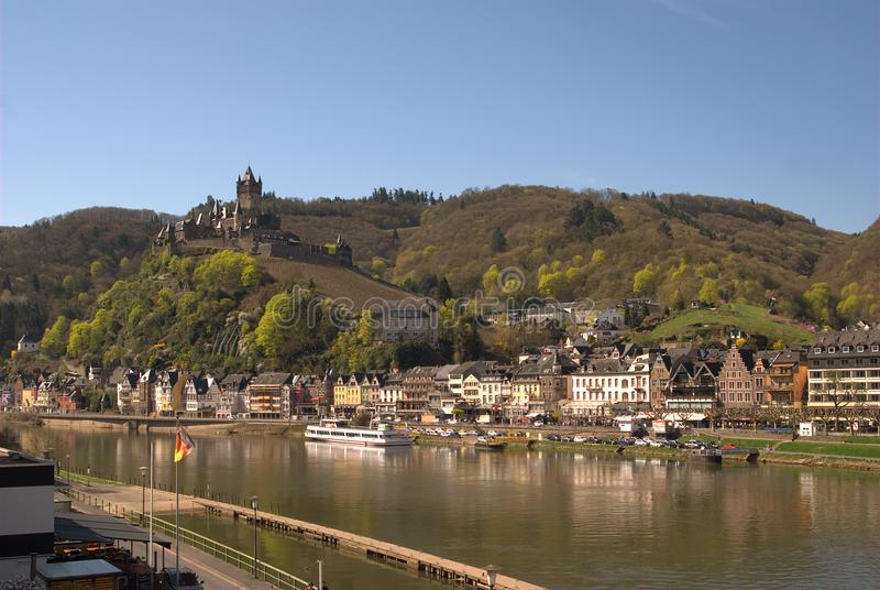 Cochem castle, town and river Mosel in Germany. View of Cochem castle and town on river Mosel Germany stock photo
