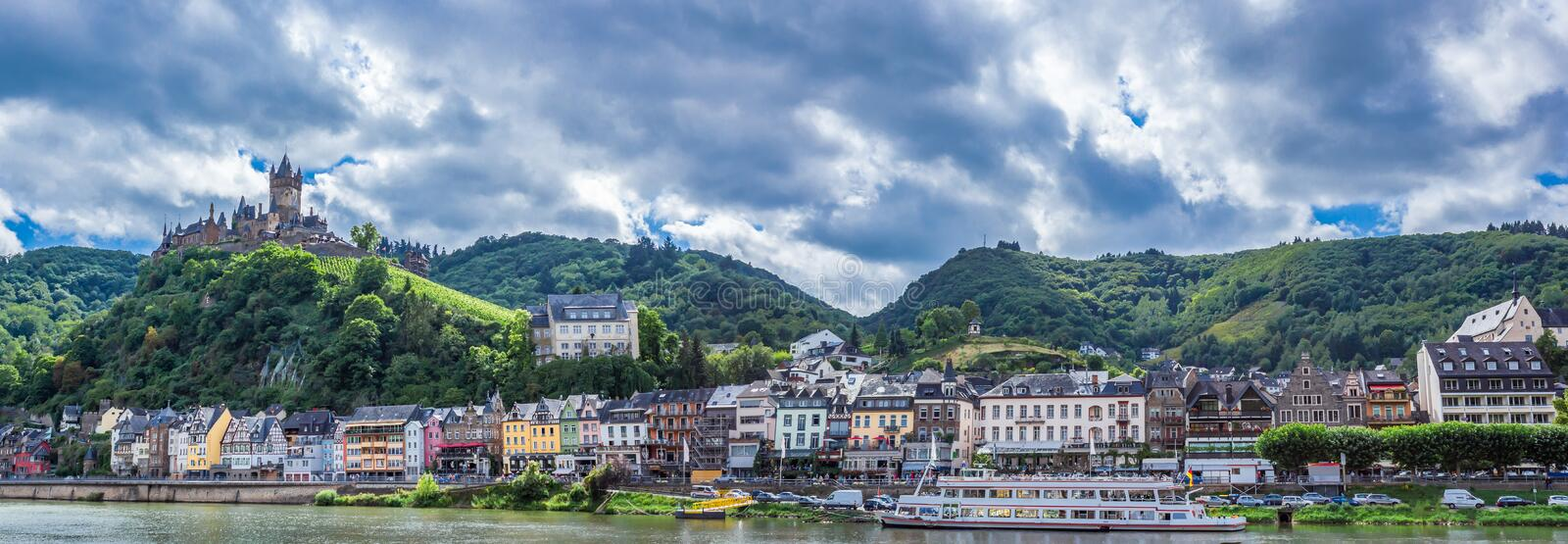 Cochem Imperial Castle on Hillside at the Moselle Riverbank royalty free stock image