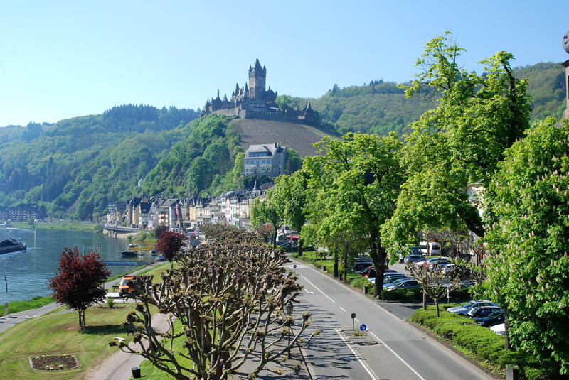 Cochem main street & castle on river Mosel in Germany. Cochem main street & historic Burg on river Mosel in Germany royalty free stock photo