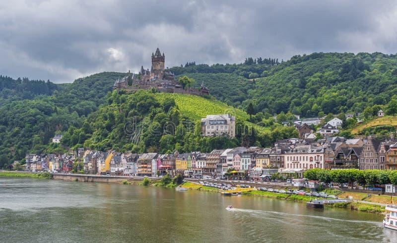 Cochem slott, Moselle dal germany arkivbilder