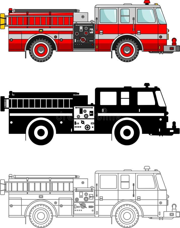 Coches de bomberos del diferente tipo en el fondo blanco en estilo plano: silueta coloreada, negra y contorno Vector libre illustration