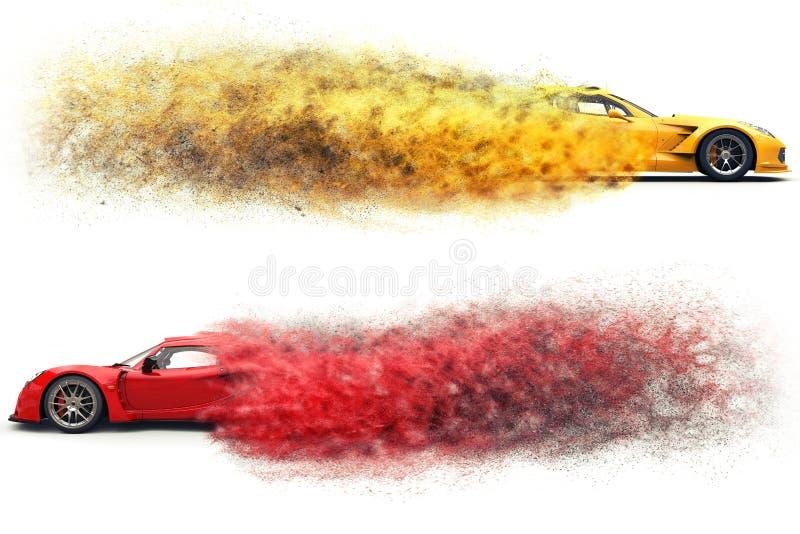 Coches de carreras impresionantes rojos y amarillos - desintegración de la partícula libre illustration