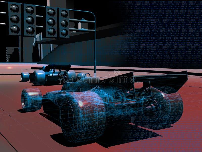 Coches de competición del ordenador ilustración del vector