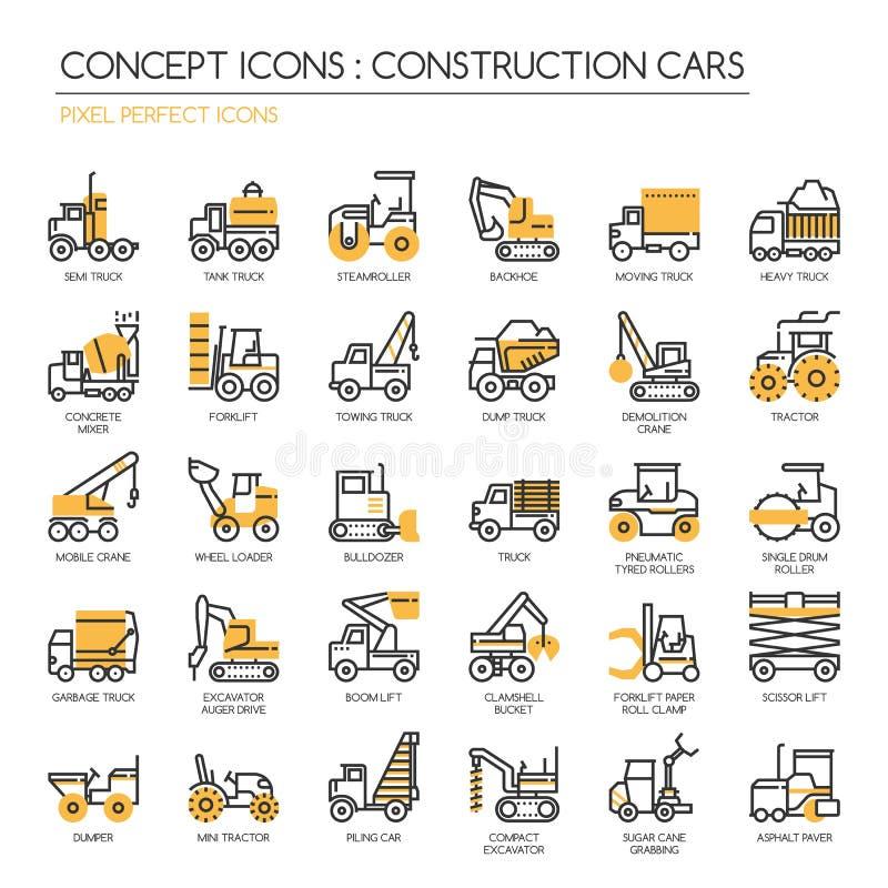 Coches de la construcción, iconos perfectos del pixel ilustración del vector