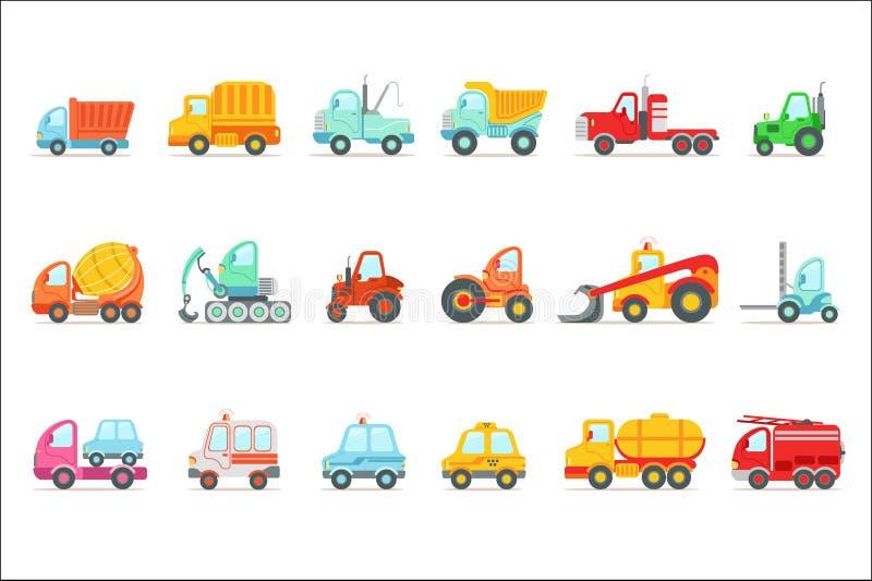 Coches de trabajo del servicio p?blico, de la construcci?n y del camino fijados de Toy Cartoon Icons colorido libre illustration