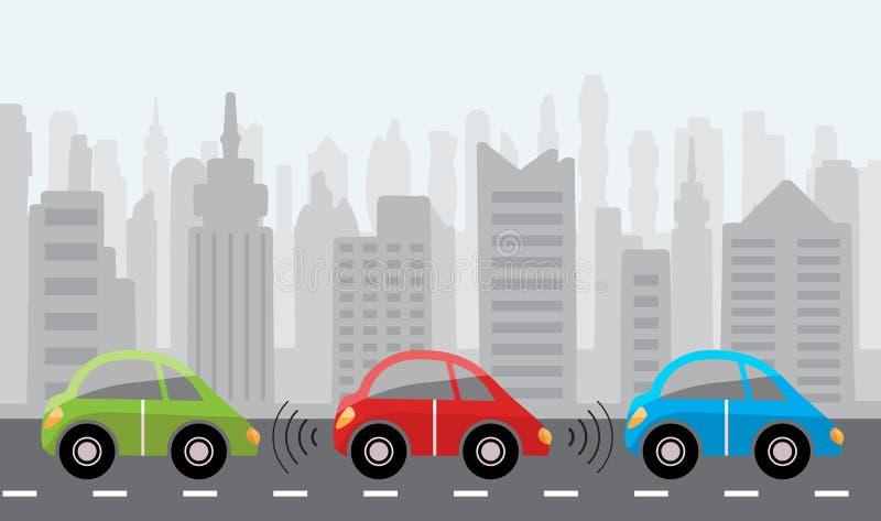 Coches de uno mismo-conducción robóticos Driverless en fondo de la ciudad ilustración del vector
