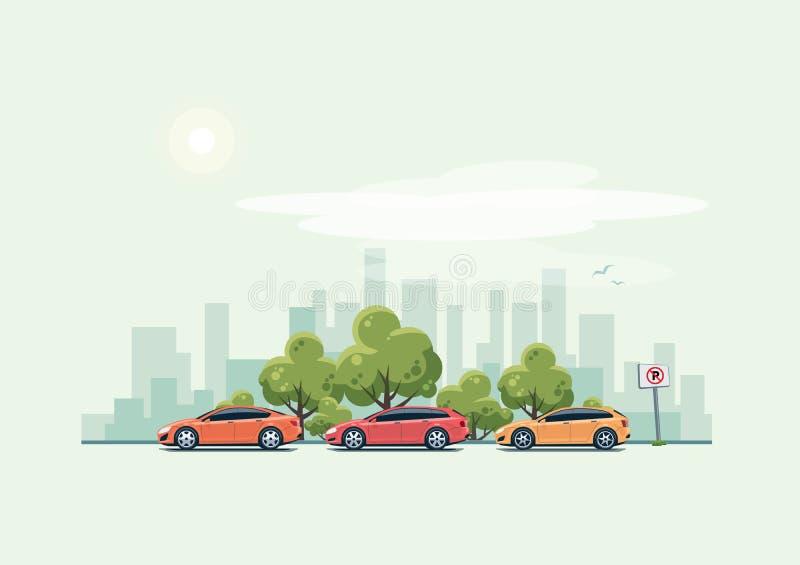Coches del estacionamiento y fondo de la ciudad con los árboles verdes stock de ilustración