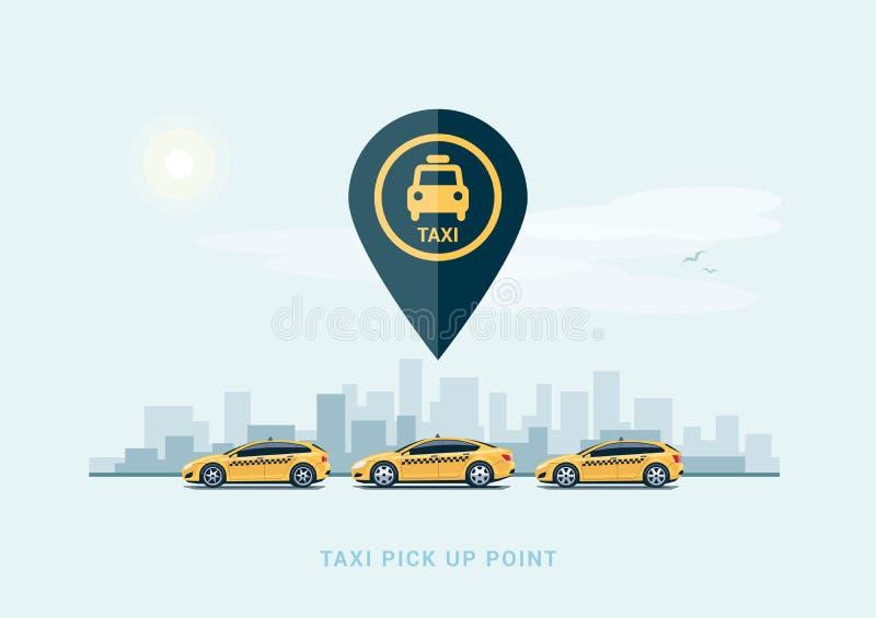 Coches del taxi del estacionamiento y fondo de la ciudad libre illustration