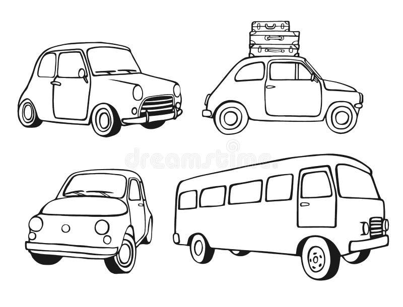 Coches del vintage fijados ilustración del vector