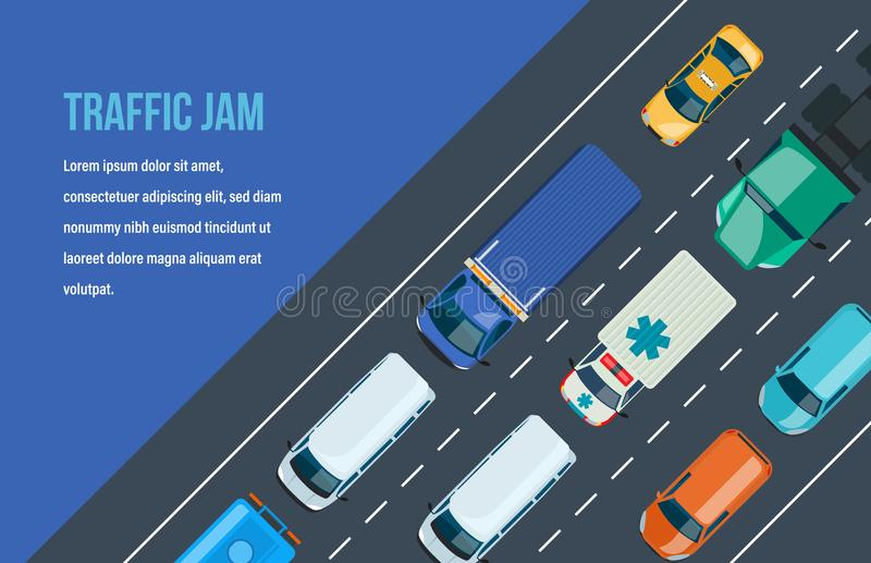Coches en el asfalto Tráfico de automóvil alrededor de la ciudad y de la carretera, autopista libre illustration
