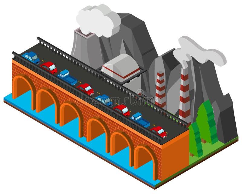 Coches en el puente a través del río libre illustration
