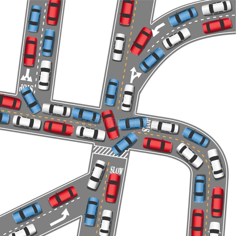 Impulsión ocupada de los coches del camino del atasco auto stock de ilustración