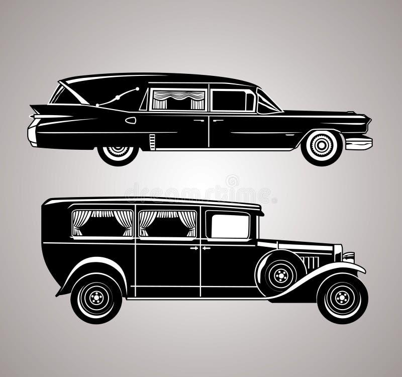Coches fúnebres del vintage ilustración del vector