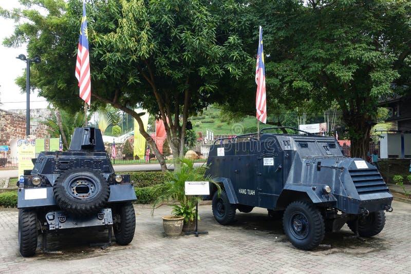 Coches históricos del ejército en Malaca foto de archivo