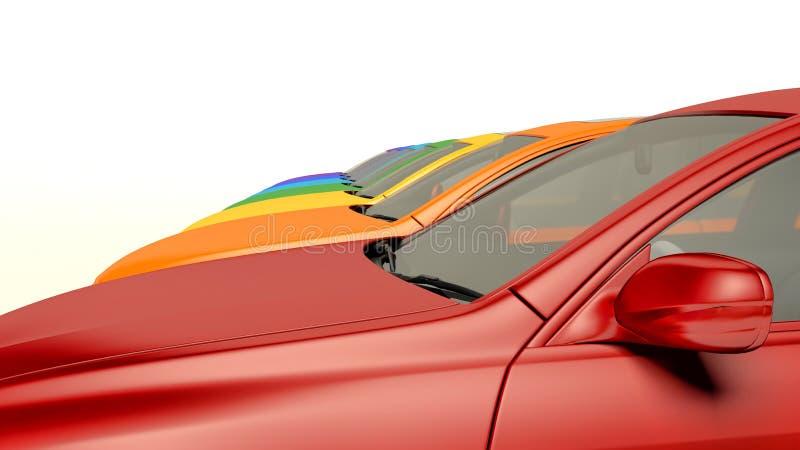Coches modernos en la acción Coches a estrenar del concesionario de coches en fila ilustración del vector