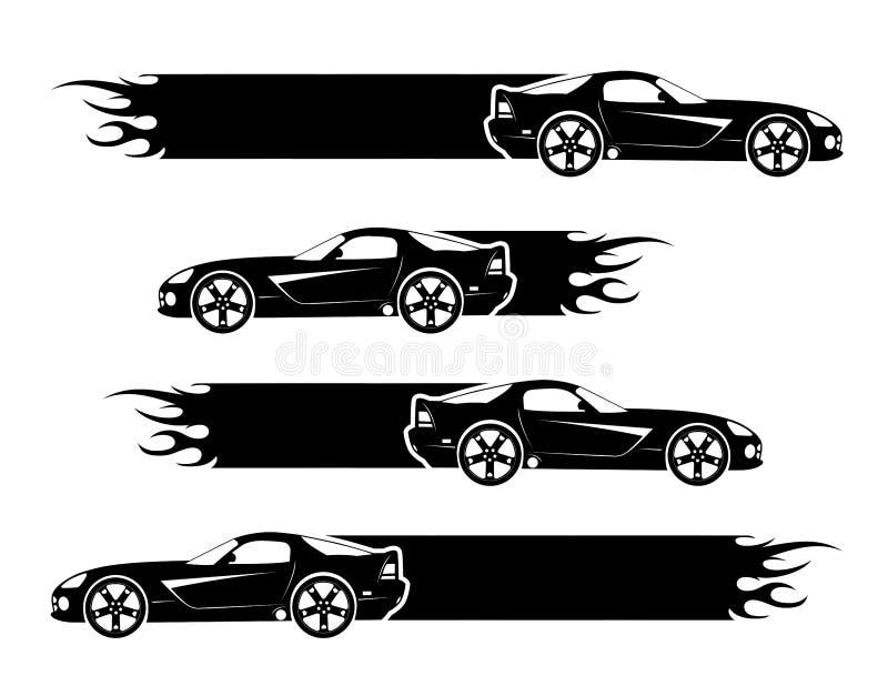 Coches negros stock de ilustración