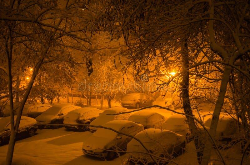 Coches nevados foto de archivo
