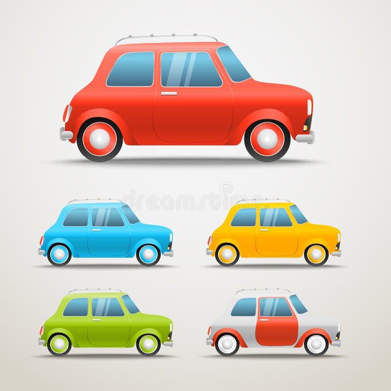 Coches retros de diverso color fijados Ejemplo del vehículo del vintage libre illustration