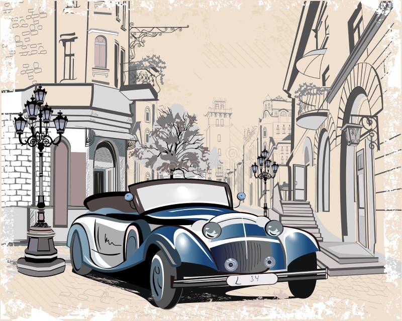 Coches retros y viejas opiniones de la calle de la ciudad ilustración del vector