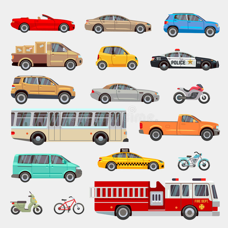 Coches urbanos, de la ciudad e iconos planos del vector del transporte de los vehículos fijados ilustración del vector