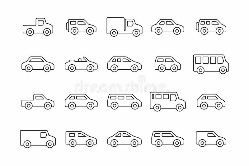Coches y camiones stock de ilustración