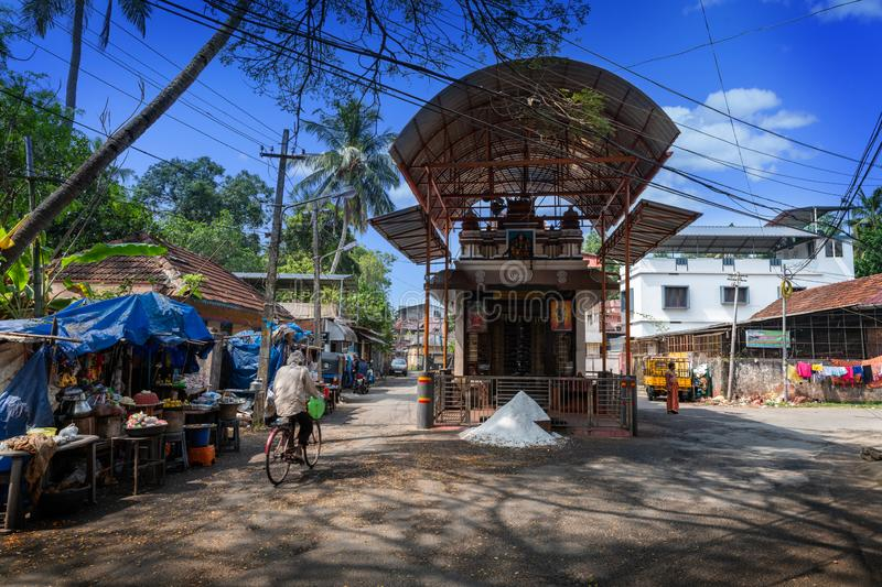 Little temple in Cochin city, India. Cochin, Kerala, India : December 25, 2018 : Little Hindu temple in the center of the old of Cochin city with salt offert in royalty free stock images