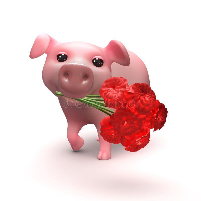 Download Cochinillo 3d Con Las Flores Stock de ilustración - Ilustración de joven, carácter: 41904355
