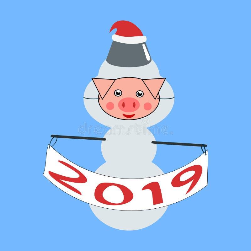Cochinillo del muñeco de nieve que sostiene una bandera en sus manos libre illustration
