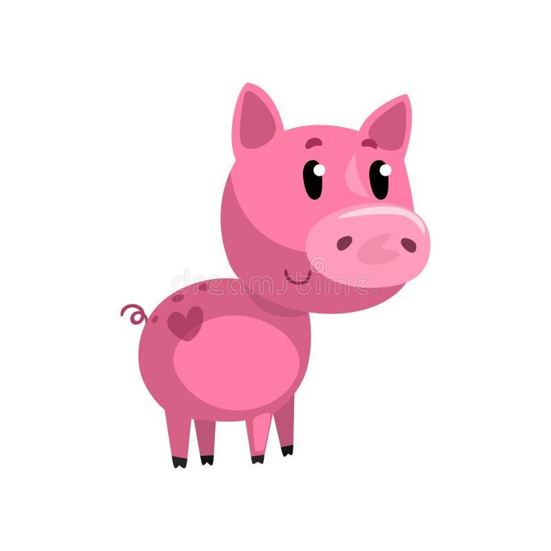 Cochinillo divertido rosado del bebé de la historieta, pequeño ejemplo guarro lindo del vector del carácter en un fondo blanco libre illustration